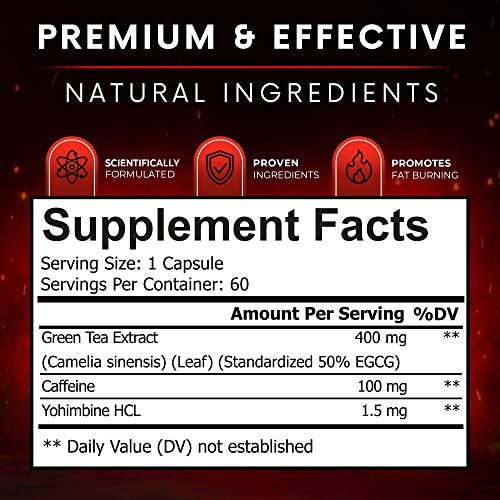 Viking Supps Viking Burn Fat Burner, Weight Loss Support Supplement with Green Tea, Caffeine, and Yohimbine - 60 Capsules (30 Day Supply) 3