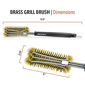 BBQ Butler Brass Grill Brush - Large Triple-Headed Grill Brush - Great for All Smoker/Grill Grates - Ideal for Porcelain Coated Grates