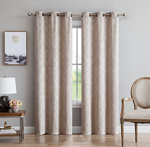 Evelyn - 2 Panels - Embossed Thermal Weaved Blackout Grommet Curtains - Room Darkening & Noise Reduction Fabric - Blocks up to 97% of Sunlight - Premium Draperies (Pair, 38