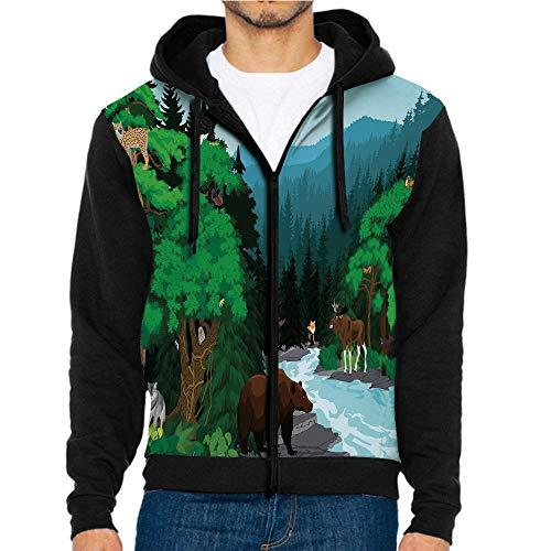 3D Printed Hooded Sweatshirts,Animals Cold River,Hooded Casual Pocket Sweatshirt