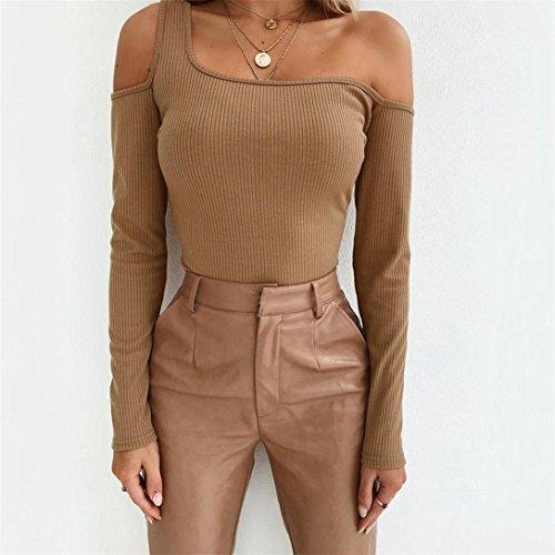 Elegante Camicia Shirt Maglietta Khaki Kword Off Tumblr Ragazze Felpa spalla Donna Lunga Camicetta Donne Pullover Sexy Maglia Manica Yyfb67g
