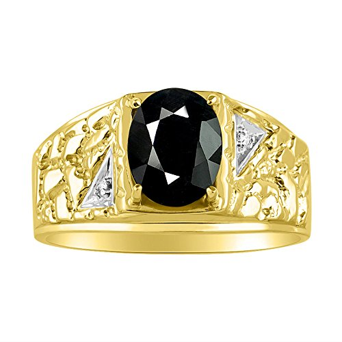 Mens Onyx & Diamond Ring 14K Yellow Gold ()