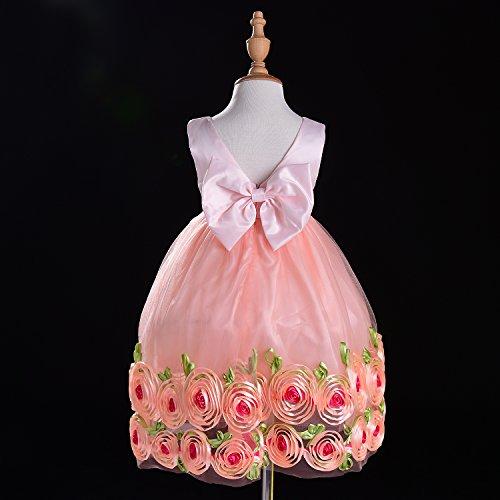 Filles Bébé Hotwon Sans Manches Fleurs 3d Robe Enfants Robe De Fille De Fleur Fille Grande Robe De Soirée En Dentelle Bowknot Rose