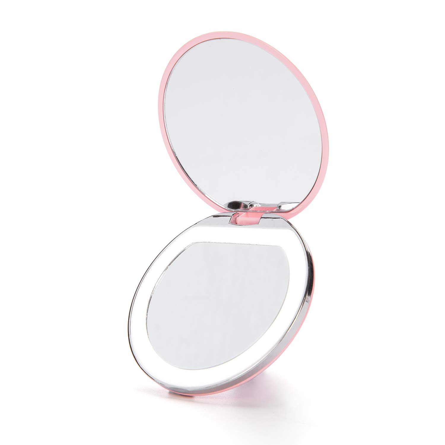 LED Lighted Travel Makeup Mirror – Compact,Exquisite,Handheld Portable Illuminated Folding Charging Travel Mirror 3inches 1x 3x Magnification