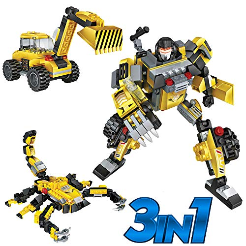 Robot Toy Set for Kids | 3 in 1 Transforming Robots, Fun and Creative STEM Toys. Construction Building Bricks Kit for Boys Ages 6-12 Years Old | Best Toy Gift Idea for Kids
