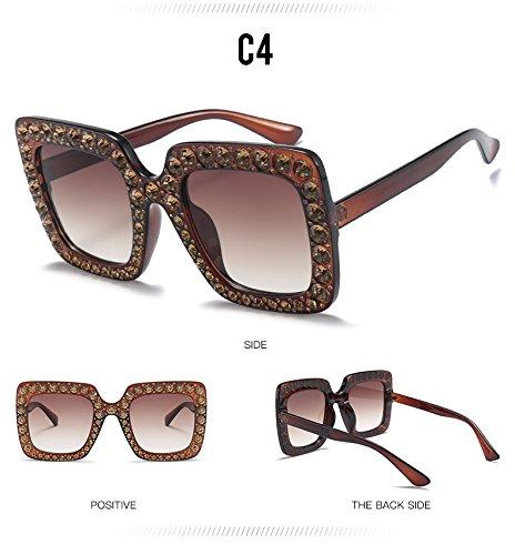 C7 Gafas Anteojos Sobredimensionado Crystal De Para Mujer Diamantes Plaza De C4 Grande Gafas Sol TIANLIANG04 Bastidor q6UxTO