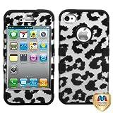 MYBAT IP4HPCTUFF2DIM020NP Premium TUFF Case for iPhone 4 - 1 Pack - Retail Packaging - Black Leopard (2D Silver)/Black