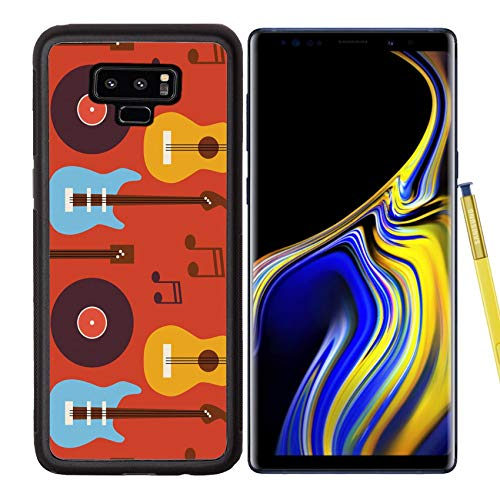Luxlady Samsung Galaxy Note 9 Case Aluminum Backplate Bumper Snap Cases ID: 42172068 Pattern Music Instrument Guitar Vinyl Disc and Note Flat Style Vector Seamless