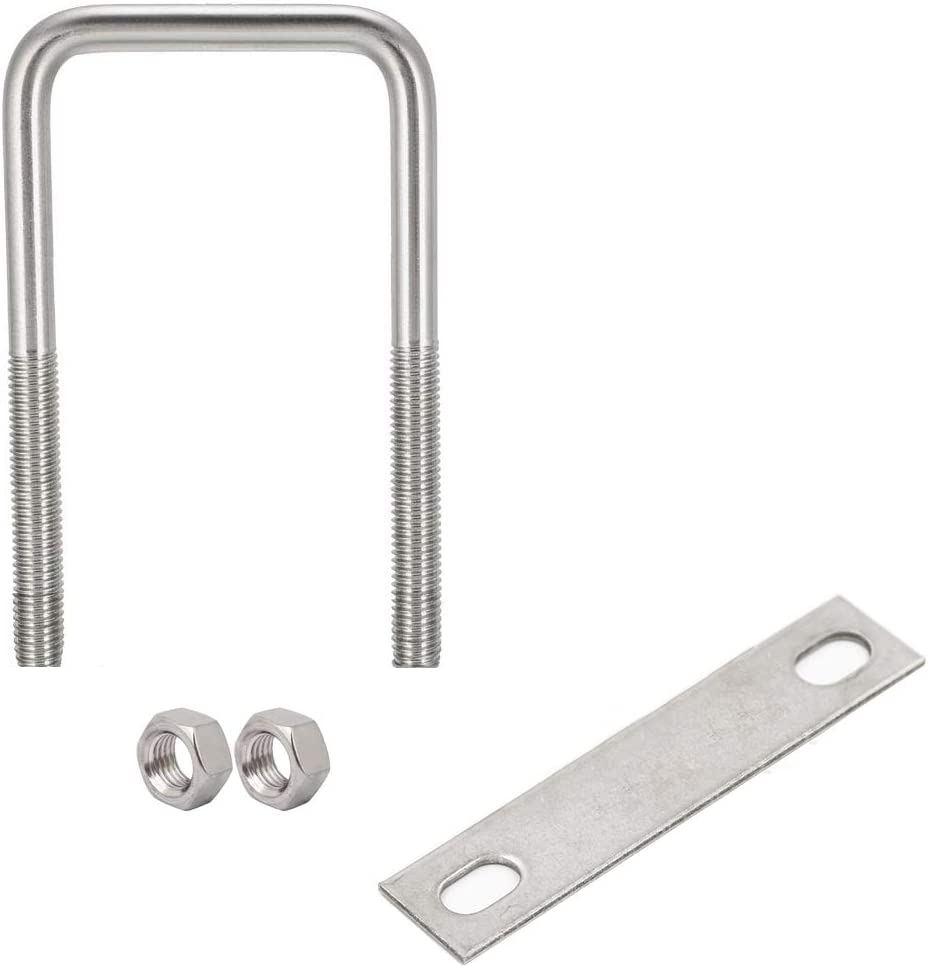 Frame Plate Round Washers uxcell Square U-Bolts 2-3//4 70mm Inner Width Carbon Steel M8 with Nuts