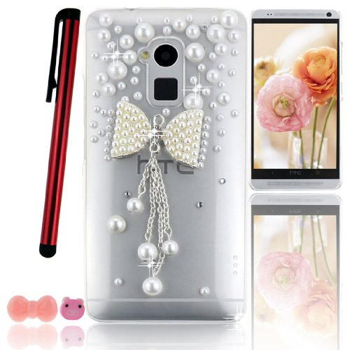 Ancerson New White Pearl Bow Bowknot Bowtie Pendant Tassel 3D Handmade Luxury Shining Glitter Crystal Diamond Rhinestones Protective Hard Back Case Cover Shell Skin for HTC One MAX T6 with a Pink Stylus Touchscreen Pen, a 3.5mm Universal Lovely Pig Dust Plug and a Bow Bowtie Bowknot Earphone Jack - Retail Package (Transparent Clear Case)