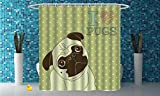 Coca Cola Shower Curtain iPrint Polyester Shower Curtain [ Pug,Cute Little Dog with Tilted Head with Lovely Expression I Love Pugs Pet Decorative,Avocado Green Baby Blue ] Polyester Fabric Kids Bathroom Curtain Designs