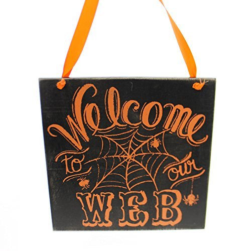 Halloween WELCOME TO OUR WEB SIGN Wood Wall Hanging Spider (Welcome To Halloween)