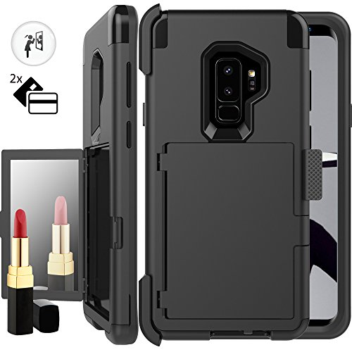 Galaxy S9 Plus Wallet Case for Women,Auker Card Holder+Makeup Mirror Shockproof Case with Belt Clip Heavy Duty Military Grade Full Body Hybrid Protective Cover for Samsung Galaxy S9 Plus (Black)