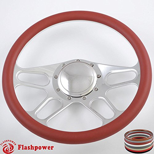 Flashpower 14'' Billet 4-slot Half Wrap 9 Bolts Steering Wheel with 2'' Dish and Horn Button (Burgundy)