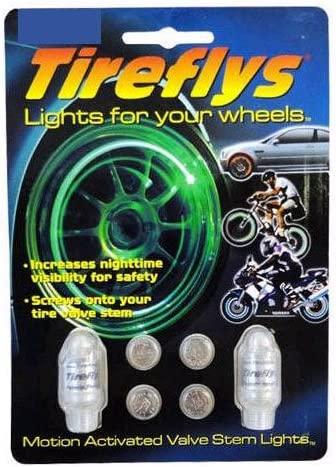 Tireflys Classic Green Flashing LED Light Valve Caps/  / set of 2/ Tirefly 6/ Replacement Batteries