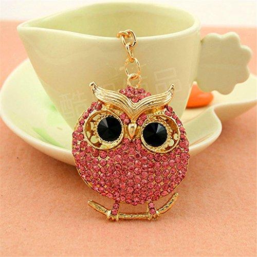 JewelBeauty Lovely Cute Round Owl On the Branch Crystal Rhinestone Keychain Key Chain Sparkling Key Ring Charm Purse Pendant Car Handbag Bag Decoration Holiday Gift (pink) ()