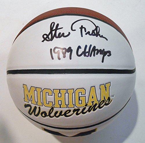 Steve-Fisher-Signed-Logo-Basketball-wJSA-COA-Michigan-Wolverines-P26577