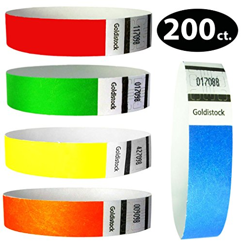 Tyvek Wristbands - Goldistock 200 Count Rainbow Variety Pack - ¾