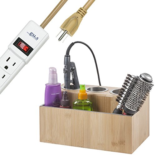 G.U.S. Eco-Friendly Bamboo Hair Styling Station Holder for Hairdryer, Flat Iron, and Curling Iron, Plus Compartment for Hair Tools or Power Strip