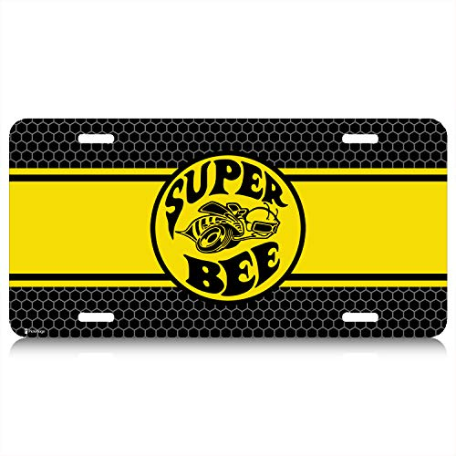 (iPick Image - Yellow Stripe Graphic Aluminum License Plate - Dodge Charger Super-Bee)