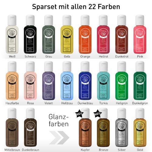 Farbstark Bodypainting Farben Sparset - hautfreundliche Körperfarbe in Profi Qualität (auch für Airbrush geeignet), Komplett Set: 22x 100 ml Farbe + 3x Schminkschwamm + 1x Schminkpinsel