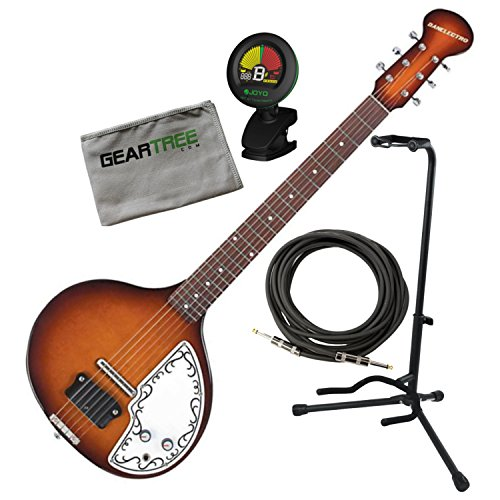 Danelectro Baby Sitar Tobacco Sunburst w/ Polish Cloth, Tuner, Cable, and Stand by Danelectro