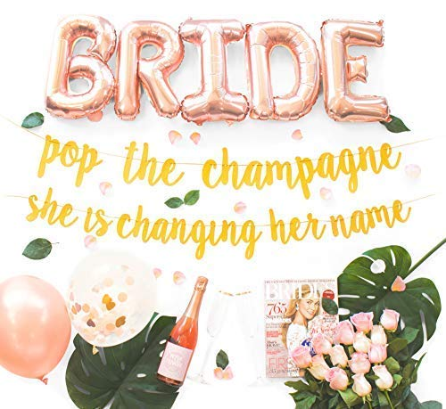 (Malibu Moments Bachelorette Party Decorations Kit | Bridal Shower Supplies | Bride to Be Sash, Ring Foil, Rose Balloons, Gold Glitter Banner | Pop The Champagne She is Changing Her Name)