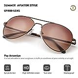 Duduma Premium Classic Aviator Sunglasses with Metal Frame Uv400 Protection (Coffee frame/brown lens(not Mirrored Lens))