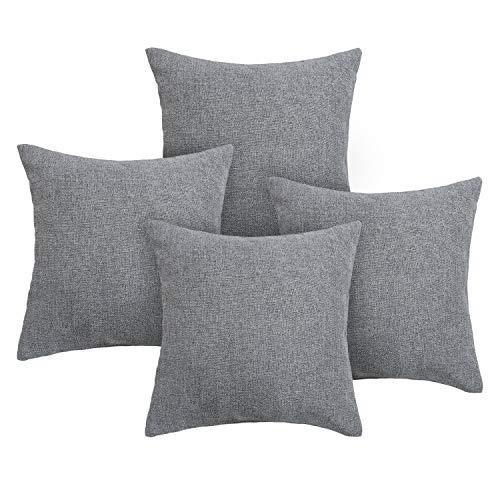 (Deconovo Woven Fine Faux Linen Throw Cushion Case Pillow Cover with Invisible Zipper for Sofa 18x18 inch Netural Grey, 4)