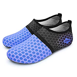 L-RUN Men Barefoot Quick-Dry Water Aqua Shoes Dot Navy L(W:8.5-9,M:6-6.5) M US