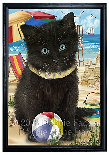 Doggie of the Day Pet Friendly Beach Black Cat Framed Canvas