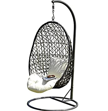 Freestanding Rattan Swing Egg Chair   Black Powder Coated Frame   Weighted  Base