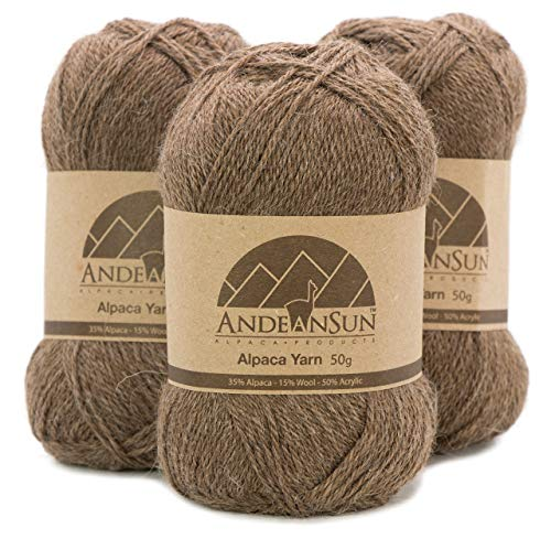 Fingering Alpaca Yarn Blend (Weight #2) FINE, Sport, Baby Skeins - Set of 3 SKEINS - 654 Yards Total - 150 Grams - 5.28 Ounces Total (Heather Brown)