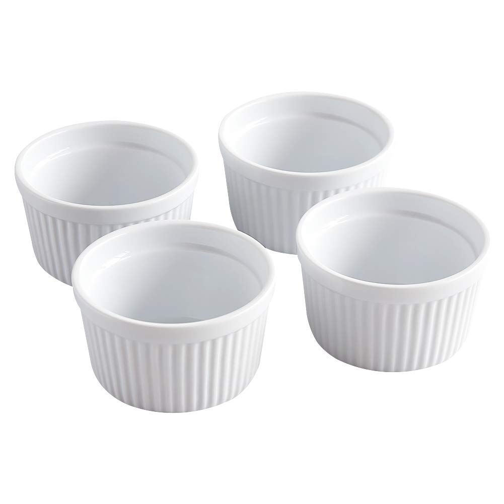 Cinf Ramekins 14 oz Pudding Cup Baking Cup Bowls Dishes, Set of 4,Souffle Cups Dishes, Dipping Sauce,Creme Brulee, Custard Cups, Desserts, Oven, Microwave, Freezer and Dishwasher