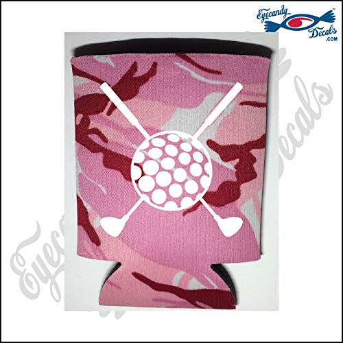 (Eyecandy Decals Golf Clubs Crossed with Golf Ball White on a Pink CAMO Pocket FOLD CAN Cooler)