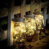 solar mason jar lights - 3 pack 30 led starry fairy string solar garden hanging lights waterproof