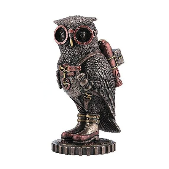 wu Steampunk Owl with Jetpack Statue Sculpture on Gears - Owl with jetpack and goggles figurine A Great Gift for Steampunk Collectors or Fans Cold Cast Bronze (Resin) - living-room-decor, living-room, home-decor - 51%2BMQ36iCTL. SS570  -