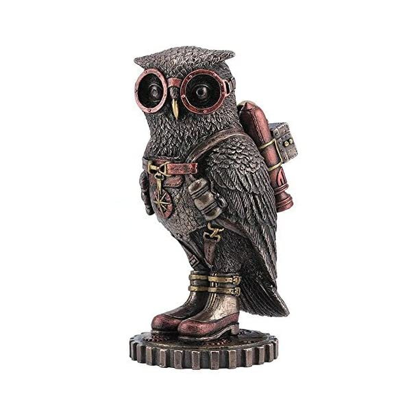wu Steampunk Owl with Jetpack Statue Sculpture on Gears 3