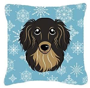 Caroline's Treasures BB1647PW1414 Snowflake Longhair Black and Tan Dachshund Fabric Pillow, Large, Multicolor