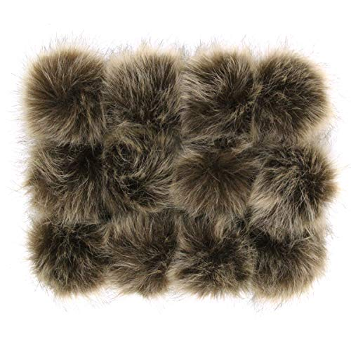 DIY 12pcs Faux Fox Fur Fluffy Pompom Ball for Hats Shoes Scarves Bag Charms (Brown)