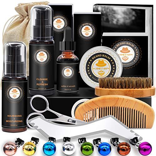 Upgraded Beard Grooming Kit w/Beard Conditioner,Beard Oil,Beard Balm,Beard Brush,Beard Shampoo/Wash, Beard Shaper,Beard Comb,Beard scissors,Storage Bag,Beard E-Book,Beard Growth Care Gifts for Men (Vslentine)