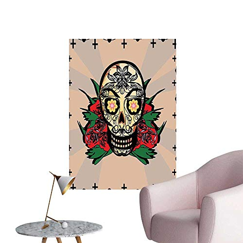 Vinyl Wall Stickers Sugar Skull with Red Rose and Cross Spooky Halloween Horror Mystic Art Theme Perfectly Decorated,12