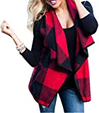 FOXRED Women's Turn-down Collar Casual Slash Hem Plaid Sleeveless Open Front Cardigan Vest with Pocket ,Multicolor 2,XX-Large