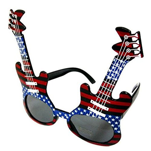 1 Pair USA American Flag Guitar Novelty Party Glasses - Costume Dressup Sunglasses for Men or - Glasses American Store