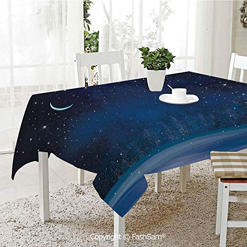 AmaUncle Party Decorations Tablecloth Winter Wonderland at Night Snowy Woodland Magical Fantastic Forest Nature Scenery Table Protectors for Family Dinners (W55 xL72)]()