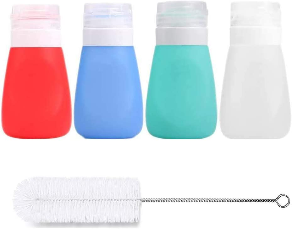 Timiuu Squeeze Salad Dressing Bottles with Cleaning Brush | Portable Sauce Bottles Condiment Bottles | Dressing to Go for Lunch | 2 OZ, Set of 4 | Food-grade Silicone, BPA Free