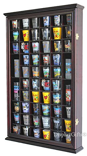 56 Shot Glass Shooter Display Case Holder Cabinet Wall Rack with DOOR (Cherry Finish) by DisplayGifts