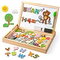 Coogam Wooden Magnetic Letters Numbers Animals with Easel Board - Alphabet 123 ABC Set Jigsaw Puzzle Travel Games Preschool Learning Toys with Drawing Writing Doodle Dry Erase for Toddler Kids Gift
