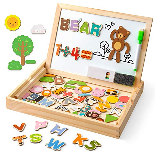 Coogam Wooden Magnetic Letters Numbers Animals with Easel Board – Alphabet 123 ABC Set Jigsaw Puzzle Travel Games Preschool Learning Toys with Drawing Writing Doodle Dry Erase for Toddler Kids Gift (Number Magnetic Set)