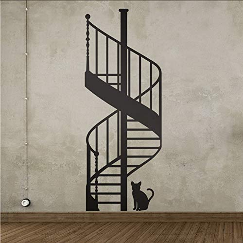 Smydp Spiral Staircase DIY Vinyl Wall Stickers Living Room Bedroom Children's Room Home Decorative Mural Art Wallpaper 59x120cm